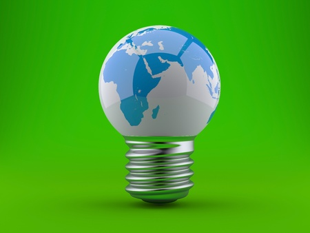 Energy concept, light bulb with planet earth on a green background photo