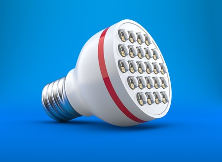 e27: modern light-emitting diode lamp on a blue background Stock Photo