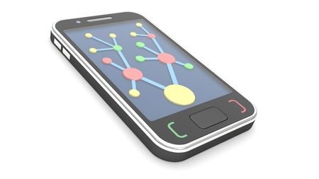hub: Mobile phone with abstract communications on a screen  illustration on a white