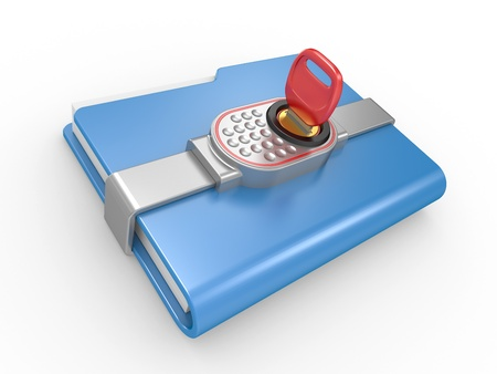 Blue computer folder with digital lock and key  3d image on a white photo