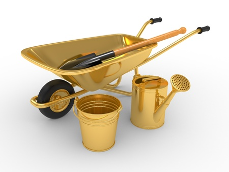 Modern garden equipment  3d illustration on a white background illustration