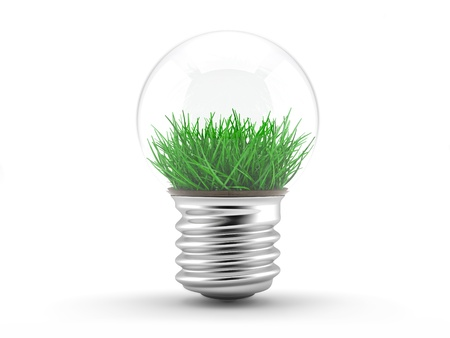 socle: Grass in a lamp bulb - ecology concept  illustration on a white background