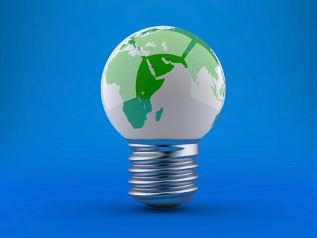Energy concept, light bulb with planet earth on a blue background photo
