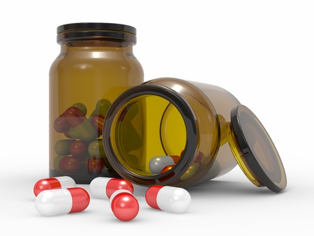antibiotic: Medicine capsules spilled from the pill bottle  3d illustration