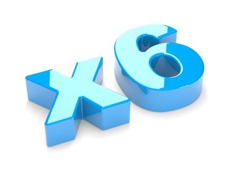 multiplicaci�n: Inscripci�n x6 sobre un fondo blanco El concepto de multiplicaci�n o aumento