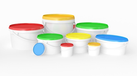 buckets of multicolored paint  3D illustration on a white background illustration