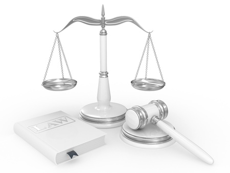 legal gavel, scales and law book on a white background photo