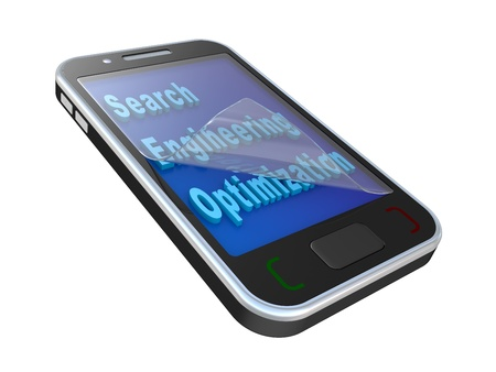Modern mobile phone with SEO inscription. Isolated 3d image on a white background  photo