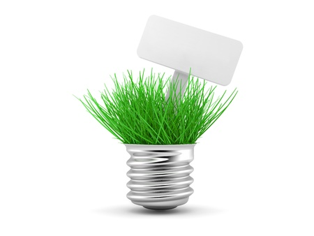 Green grass growing up through light bulb, green power, ecology concept photo