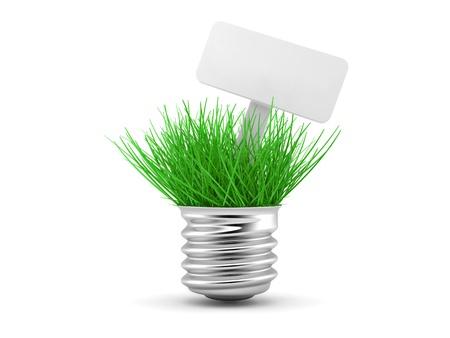 Green grass growing up through light bulb, green power, ecology concept