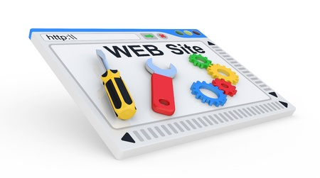 hardware configuration: Website is under construction  3D Illustration on a white background  Stock Photo