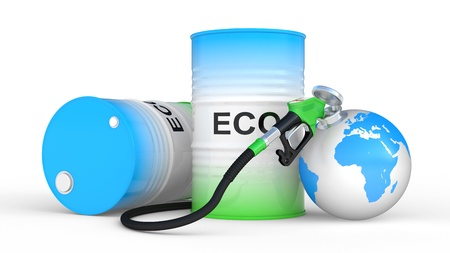 biodiesel: fueling earth from pump nozzle on white background. Ecological concept