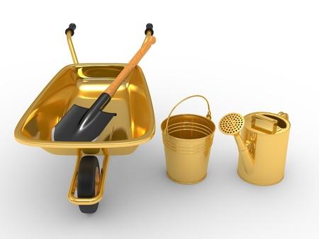 gold shovel: Modern garden equipment. 3d illustration on a white background Stock Photo