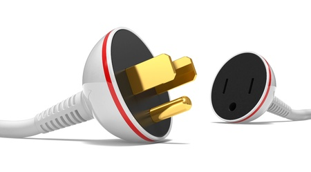 electric power cable, plug and socket unplugged on a white background photo