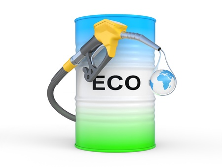 barrel with ECO fuel and gas pump nozzle  Ecological concept Stock Photo