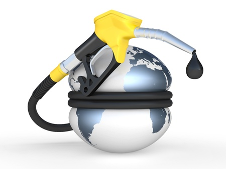 Earth squeezed and fuel pump nozzle with drop oil  3D illustration on a white illustration