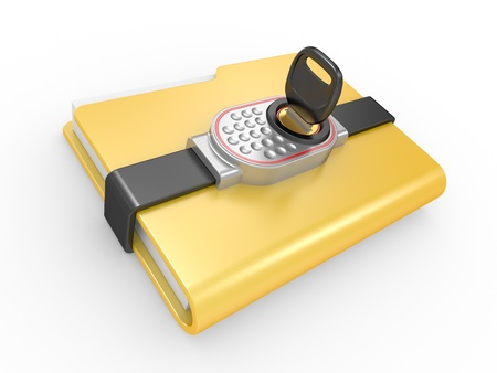 Blue computer folder with digital lock and key  3d image on a white Stock Photo - 12985264