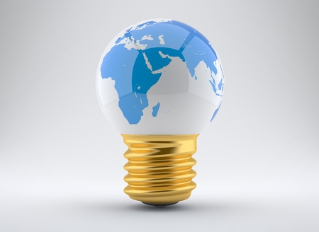 e27: Energy concept, light bulb with planet earth on a white background Stock Photo