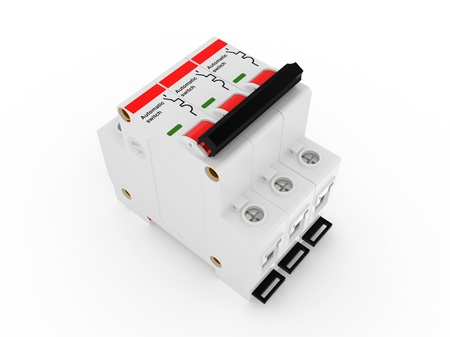 fusebox: Automatic electricity switch   3d model isolated on a white