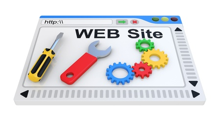 webspace: Website is under construction  3D Illustration on a white background  Stock Photo