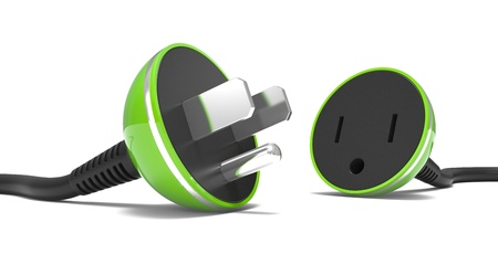 unplugged: electric power cable, plug and socket unplugged on a white background