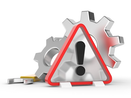 conducted: Sign on exclamation and two gears wheel   Attention  Repair work is conducted Stock Photo