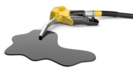 benzine: Fuel pump nozzle and pool of oil on a white background