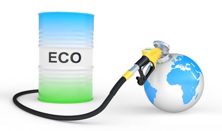 biodiesel: fueling earth from pump nozzle on white background  Ecological concept Stock Photo