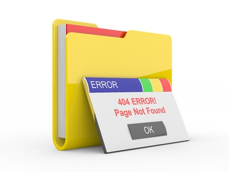 found: Window error 404  Page not found  3d illustration