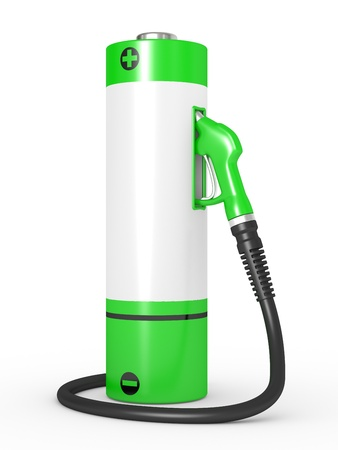 benzine: Gas pump nozzles in a fuel station  Concept of use of nonconventional energy sources