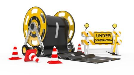 road works: Road works  3d under construction illustration