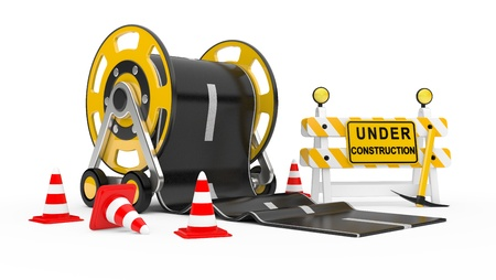 Road works  3d under construction illustration Stock Illustration - 13540532