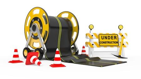 road works: Road works. 3d under construction illustration