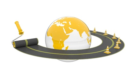 autobahn: Road around globe on white background. Isolated 3D image