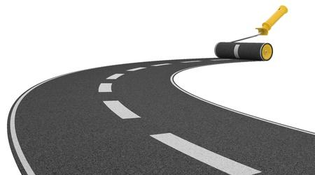 roller brush: roller brush paint road. road building concept. 3d illustration