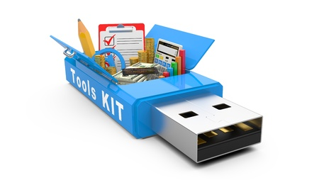 tooling: USB Flash drive with office tools and money  business concept