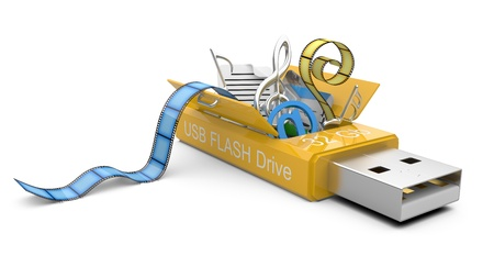 usb flash: USB Flash drive with files  3d illustration on a white