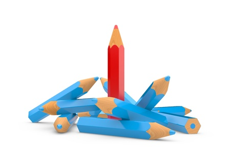 red pencil: leadership concept with color pencils on a white background Stock Photo