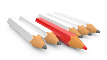 inimitable: leadership concept with color pencils on a white background Stock Photo