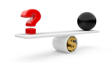 query: The difficult decision in business. A question sign on scales. 3d illustration