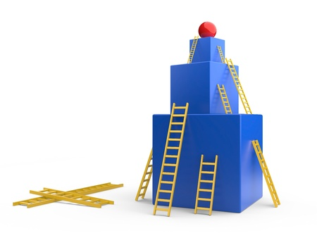 clamber: box with a  ladders. The development concept. 3d illustration Stock Photo