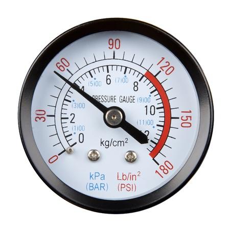 Manometer auf weißem Hintergrund isoliert Standard-Bild