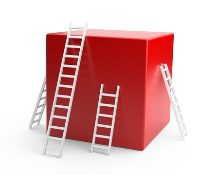 clamber: red box with a white ladder. The development concept. 3d illustration Stock Photo