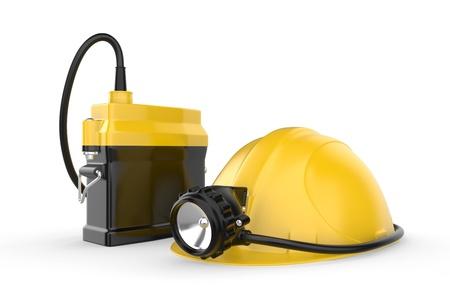 Miners Helm mit Lampe auf einem weißen Hintergrund Rettungsgeräte 3d illustration Standard-Bild