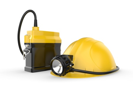 blazed: Miners helmet with lamp on a white background  Rescue equipment  3d illustration