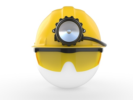 strong light: Worker with helmet and head lamp  3D illustration