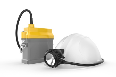 miners: Miners helmet with lamp on a white background  Rescue equipment  3d illustration
