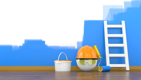 Painting of wall in a blue color  3d illustration illustration