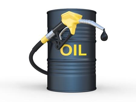 fuels: oil barrel and fuel pump nozzle. 3D illustration Stock Photo