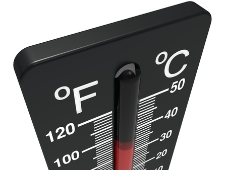 temperature: Spirit the thermometer isolated on a white background Stock Photo